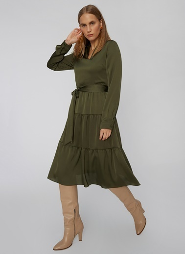 People By Fabrika Etekleri Volan Detaylı Elbise Haki